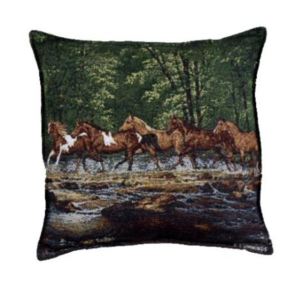 """Pack of 2 Running Horse Herd Tapestry Square Throw Pillows 17"""""""