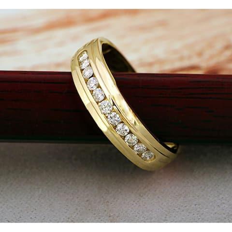 De Couer 10k Yellow Gold 1/2ct TDW Diamond Men's Wedding Band