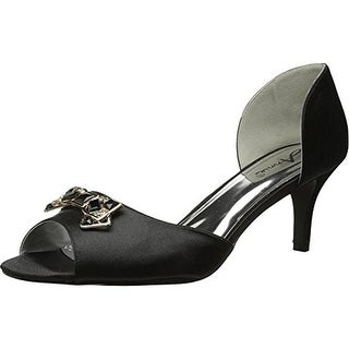 Annie Womens Late Night Open-Toe Heels Satin Pumps