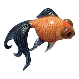 Fancy Black Tail Orange Goldfish Childs Room Bath 6 Inch Wall Decor