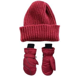 ODOLAND Boys/Girls Beanie Hat and Winter Snow Mitten Set, Winter Hat W/ Waterproof Snow Ski Gloves, Red