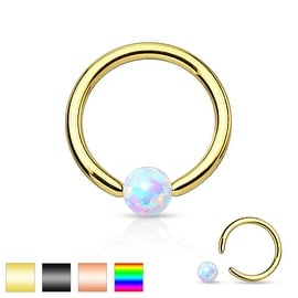 Synthetic Opal Stone IP 316L Surgical Steel Captive Bead Ring (Sold Ind.)