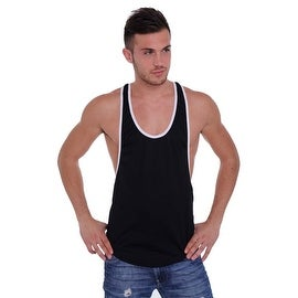Men's Dri Fit Tank Top Open Side Racer Back Gym Workout Rib Ringer Muscle Shirt