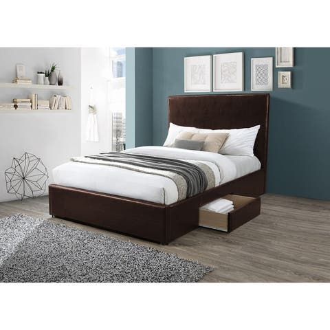 Milley Faux Leather Storage Bedframe with Headboard (Brown/ Black)