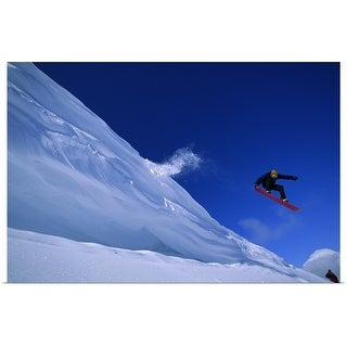 """Snowboarder in mid-air"" Poster Print"