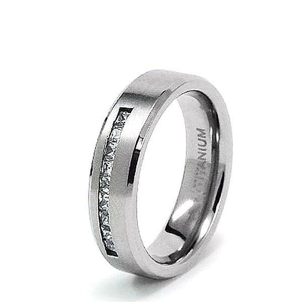 6mm Titanium Ring with CZ (Sizes 8-12)