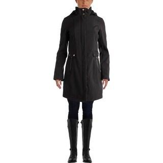 Larry Levine Womens Soft Shell Fleece Lined Raincoat - XS