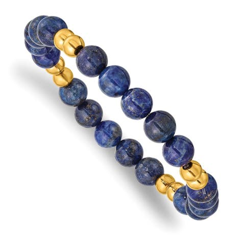 Chisel Stainless Steel Polished Yellow IP-plated with Lapis Beaded Stretch Bracelet