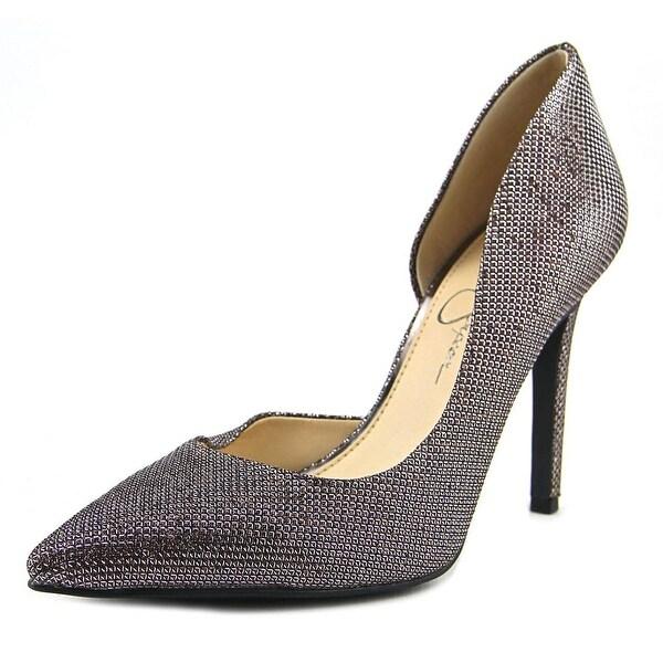 Jessica Simpson Claudette Women Pointed Toe Canvas Bronze Heels
