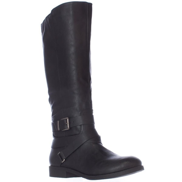 SC35 Lolah Triple Strap Mid Wide Calf Riding Boots, Black