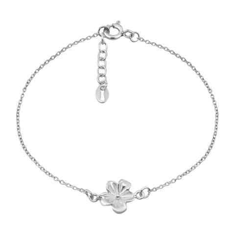 Handmade Chic Tropical Mini Hawaiian Plumeria Sterling Silver Chain Bracelet (Thailand)