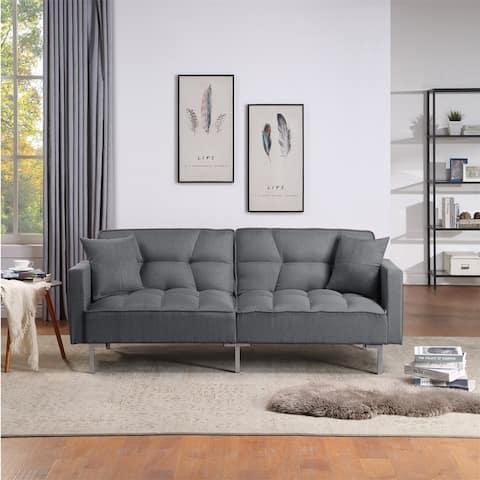 Merax Upholstery Fabric Sleeper Sofa, Square Arm Sofa Bed