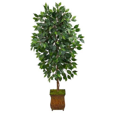 "51"" Ficus Artificial Tree in Metal Planter - 9"""