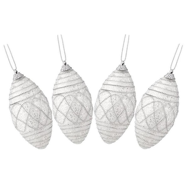 4ct White and Silver Beaded and Glittered Shatterproof Christmas Finial Ornaments 4.5""
