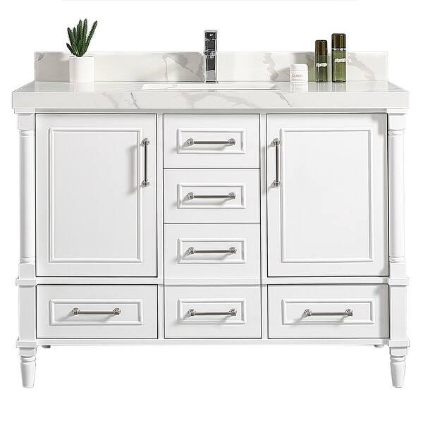 60 X 22 Aberdeen Single Bowl Sink Bathroom Vanity With 2 In Quartz Overstock 32575049