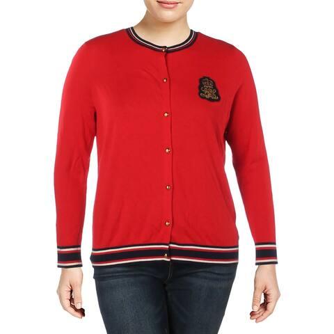 Lauren Ralph Lauren Womens Plus Sweater Ribbed Trim Striped