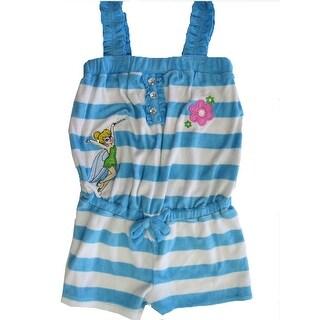 Disney Little Girls Blue White Stripe Tinker Bell Towel Throw On Romper 2T-6X