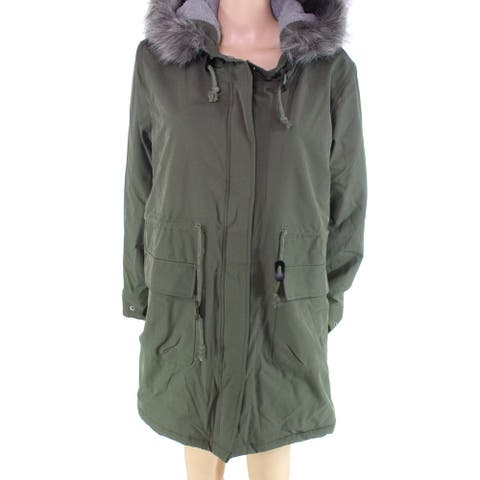 escalier Women's Coat Green Size 3X Plus Faux-Fur Drawtring Parka