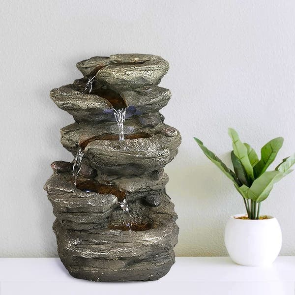Shop Indoor Rock Fountain W Led Lights 5 Tier Tabletop Water Fountain On Sale Overstock 31427271