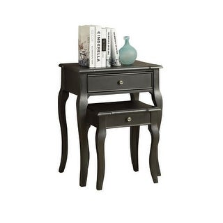 Monarch Specialties 2 piece nesting table set V 2 Piece Nesting Table Set with Drawers