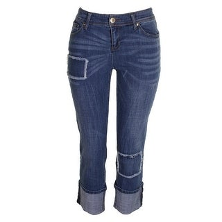Inc International Concepts Blue Patchwork Straight Boyfriend Jeans