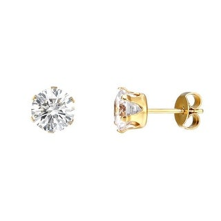 Stainless Steel Round Solitaire Earrings 14k Gold Tone Cubic Zirconia Studs 3mm