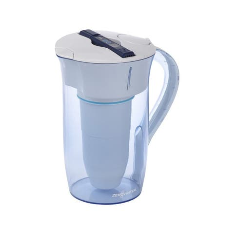 ZeroWater 10 Cup Round Water Filter Pitcher, TDS Meter, ZR-0810-4