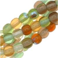 Czech Glass Druk 4mm Round 'Earthtone Color Mix Lt Green/Amber' (100)