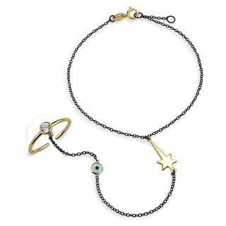 Silver CZ Gold Plated Evil Eye Hand Chain Slave Bracelet - Black