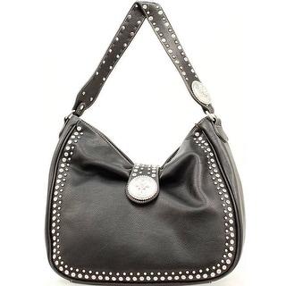 Blazin Roxx Western Handbag Womens Biker Bucket Crystal N75366 - Black - 13 1/2 x 6 x 12