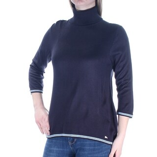 TOMMY HILFIGER Womens New 1402 Navy Turtle Neck 3/4 Sleeve Casual Top M B+B