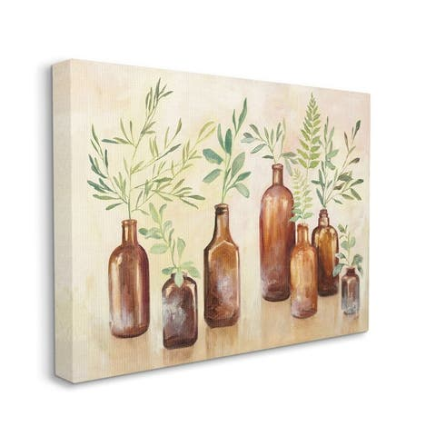 Stupell Industries Ferns and Plants Glass Jars Brown Green Painting Canvas Wall Art