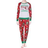 Hello Kitty Womens Holly Jolly Pajama Set 2PC Glitter