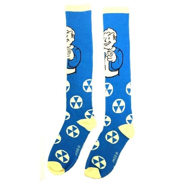 Fallout Vault Boy Winking Knee High Socks - Blue