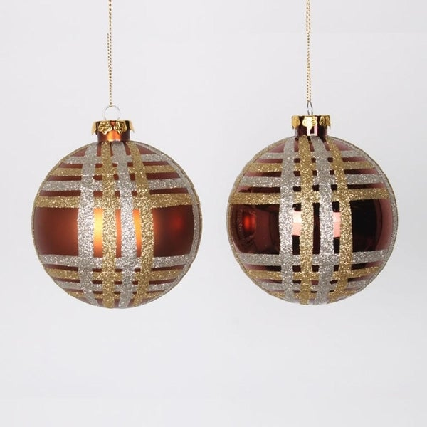 "4ct Copper w/ Champagne Gold & Silver Glitter Plaid Shatterproof Christmas Ball Ornaments 4"" (100mm)"
