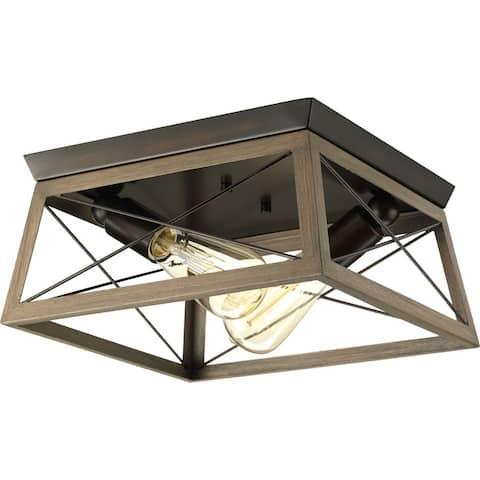 "Briarwood Collection Rich Oak Flush Mount Ceiling Light - 9.120"" x 15.000"" x 15.000"" - 9.120"" x 15.000"" x 15.000"""