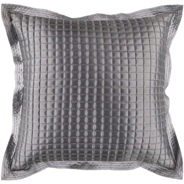 "22"" Quilted Squares Slate Gray Decorative Square Throw Pillow - Down Filler"