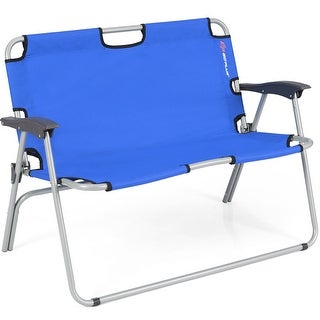 Costway 2 Person Folding Camping Bench Portable Loveseat Double Chair Outdoor Blue