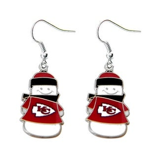 Kansas City Chiefs NFL SNowman Holiday Dangle Logo Earring Set Charm Gift