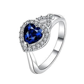Heart Shaped Mock Sapphire Jewels Crystal Ring