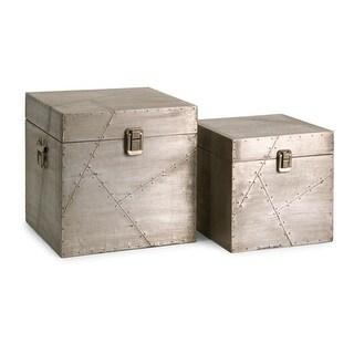 "Set of 2 Sleek Industrial-Style Aluminum Storage Trunk Boxes 10"""
