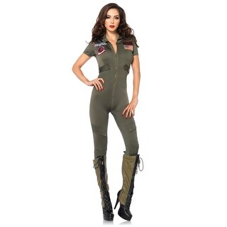 Leg Avenue Top Gun Flight Suit Adult Costume - Green