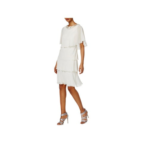 SLNY Womens Dress With Jacket Chiffon Tiered