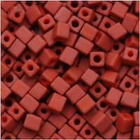 Miyuki 4mm Glass Cube Beads 'Opaque Terracotta' 1236 10 Grams