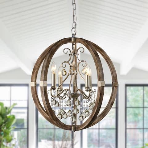 "Farmhouse 21"" Wide 4-Light Wooden Crystal Orb Chandelier"