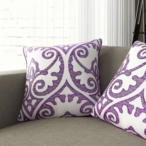 Gracewood Hollow Ejubovic Contemporary Purple and White Accent Pillows (Set of 2)