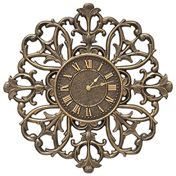 Whitehall Products Filigree Silhouette 21 In Indoor Outdoor Wall Clock Bronze
