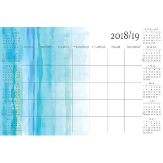 """Brewster WPE272  Coral Equinox 24"""" x 36"""" Peel and Stick Repositionable Dry Erase 2018-2019 Academic Calendar with Marker"""