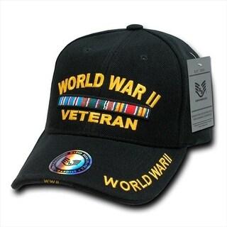 Deluxe Military Baseball Caps, World War Ii Vet, Black