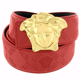 "Medusa Face Buckle Red Leather Belt Greek Design 46"" Gold Tone 37mm"
